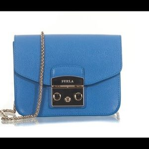 Furla Metropolis  Leather Bag Sky Blue Leather